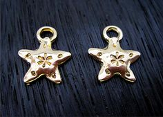 Small Gold Bronze Artisan Puffy Stamped Star by VDIJewelryFindings