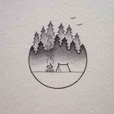 Tattoo Inspo @david_rollyn camp fire and trees