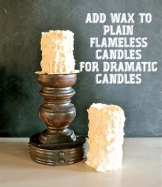 Chunky Flameless Candles Top  #batterycandles http://countrydesignstyle.com