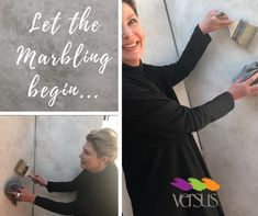 Marbling is on trend this year. Here we see Sandra Larkin Interior Design getting our Versus Parkhurst store ready for our Marbling and New Metallics Range Promotion. Sandra is using a grey and gold marbling effect. Watch this space!