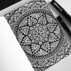 """a mandala is the psychological expression of the totality of the self"" ART SHARING • #blxckmandalas"