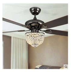 52inch LED chandelier fan light modern new crystal chandelier fan restaurant fashion crystal fan light with remote control fan-in Ceiling Fans from Lights & Lighting on Aliexpress.com   Alibaba Group