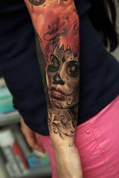 Tattoo Artist: Dmitriy Samohin  Realistic Día de los Muertos (Day of the Dead) tattoo