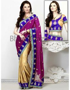 Impressive Half Pattern Saree Item code : SKD2750  www.bharatplaza.com/saree-online.html