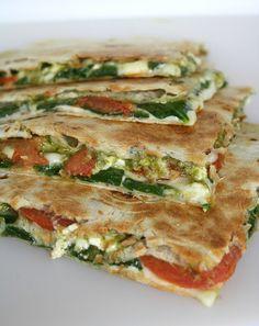 Spinach tomato feta quesadillas