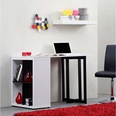 KILIAN bureau 110cm blanc et pieds noirs - Salon & Salle à manger à bon prix – MonCornerDECO