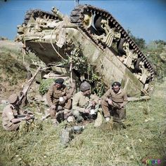 The crew of an up-ended (M4A1) #Sherman tank of the 7th Armoured Brigade enjoy a 'brew' beside their vehicle while waiting for a recovery team, on the '#GothicLine' in Italy, 13th of September 1944. Their tank overturned after slipping off a narrow road in the dark. (Nb. Behind the Sherman (M4A1) there is a Daimler Dingo scout car.) (Source - IWM NA 18551 - Dawson (Sgt), No 2 Army Film & Photographic Unit)