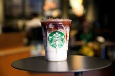 Iced Coconut Milk Mocha Macchiato: Starbucks' first iced espresso beverage that features coconut milk, released on July Free Starbucks Drink, Starbucks Secret Menu, Starbucks Recipes, Starbucks Iced Coffee, Coconut Milk Mocha Macchiato, Starbucks Specials, Vegan Milk, Espresso Drinks, Frappuccino