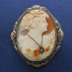 Cameo Brooch Antique 14 Karat Gold Filigree With Diamond Estate Floral Lady Shell Circa 1900 on Etsy, $410.00