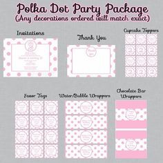 Pink and White Polka Dot Birthday Party Package, Invitations and Decorations