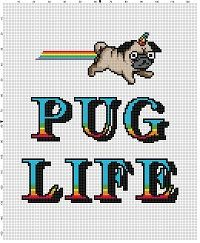 Pug Life Funny Cross Stitch Pattern Instant by SnarkyArtCompany