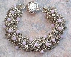Chainmail Bracelet Argentium Sterling Pink Crystal Chainmaille