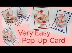 cardmaking video tutorial: Pop Up Card . Stampin' Up! Card Making Tutorials, Card Making Techniques, Making Ideas, Pop Up Flower Cards, Pop Up Box Cards, Fun Fold Cards, Folded Cards, Greeting Card Video, 3d Templates