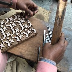Back in Jaipur and checking in on the new wooden blocks for our new prints launching in May. Can you guess what it is? #ecru #printmaking #blockprint #handmade #artisan #wood #dye #design #craft
