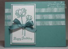 www.dreamingaboutrubberstamps.com - A monochromatic card in Lost Lagoon featuring the Bloom with Hope Hostess stamp set from Stampin' Up!