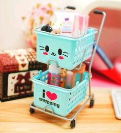 Omg I WANT THIS SO BADLY it's so kawaii!! Cute Shopping Cart with a cat face! Makeup, pencil, etc holder! The possibilities r endless (if it fits)!!