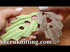 How To Crochet Leaf With Holes Inside Tutorial 7 - YouTube