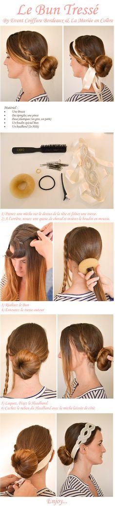coiffure mariée, bride, hairstyle DIY bun chignon tresse tutoriel mariage Source : http://lamarieeencolere.com/post/45252663581/super-facile-a-realiser-pour-le-brunch-ou-la