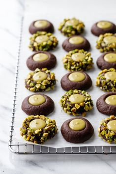 This Chocolate Pistachio Cream Thumbprints recipe is featured in the Cookies feed along with many more. Pistachio Gelato, Pistachio Butter, Pistachio Cream, Pistachio Cookies, Pistachio Dessert, Pistachio Recipes, Almond Cookies, Favorite Cookie Recipe, Decorated Cookies