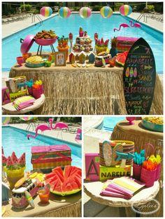 cumpleaños-surf-2                                                                                                                                                                                 Más Hawaiian Luau Party, Tropical Party, Hawaiian Birthday, Summer Birthday, Aloha Party, Tiki Party, Luau Birthday, Moana Birthday Party, Moana Party