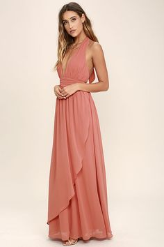 Lulus Exclusive! You'll get looks everywhere you go in the Stop and Stare Terra Cotta Halter Maxi Dress! Lightweight chiffon shapes the plunging halter bodice with an open back, and tying neckline. A banded waist sits atop a full, wrapping maxi skirt. Hidden back zipper/clasp.