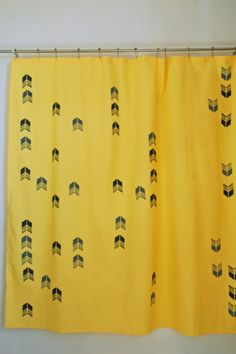 yellow shower curtain with light & dark arrow tail print Yellow Shower Curtains, Long Shower Curtains, Extra Long Shower Curtain, Curtain Lights, Free Studio, Article Design, Large Windows, Light In The Dark, House Design