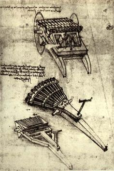 Page: Multi Barrel Gun Artist: Leonardo da Vinci Completion Date: c.1481 Place of Creation: Milan, Italy Style: Early Renaissance Genre: design Gallery: Biblioteca Ambrosiana, Milan, Italy Tags: designs-and-sketches, weapons-and-armors