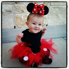 Minnie Mouse infant DIY costume. I made the ears out of foam, painted them black and added the bow to a headband. I hot glued felt dots onto the tutu. Easy!