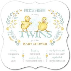 Twin Ducky Baby Shower Invitations for a twin baby shower! Love the vintage look and the scalloped shape of the invitation (aff link)