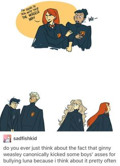 I like how d artist portrayed d bullies as one slytherin and the other griffindor. Harry Potter Comics, Harry Potter Marauders, Harry Potter Jokes, Harry Potter Fan Art, Harry Potter Universal, Harry Potter Fandom, Harry Potter World, Hogwarts, Slytherin