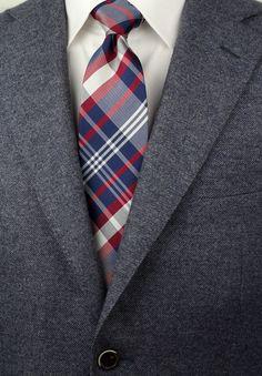 e746f6e3fc36 Preppy Plaid Silk Tie in Red, White, Blue - ties shop - Plaits & Checks