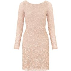 Aidan Mattox Long Sleeve Beaded Cocktail Dress, Blush ($470) ❤ liked on Polyvore featuring dresses, maxi cocktail dress, maxi dresses, mini cocktail dress, bodycon midi dress and midi cocktail dress