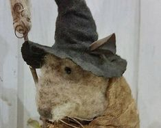 Miss Brimfield, A Primitive Folk Art Mouse Witch Pattern