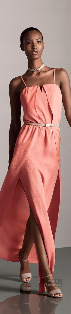 Halston Heritage.Pre-Fall 2015. coral dress women fashion outfit clothing style apparel @roressclothes closet ideas