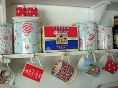 Such a charmingly lovely vintage inspired British kitchen. #vintage #kitchen #mugs #tea #UK #Britain #England