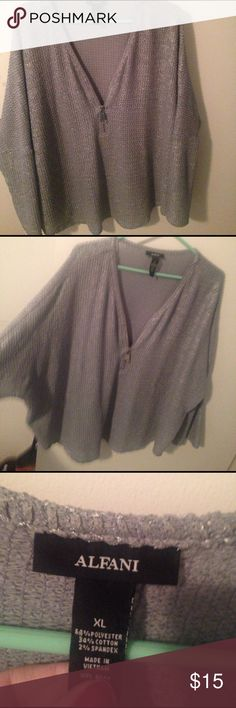 Very cute NWOT Alfani sweater !! Light weight sweater. Perfect for work or a night out. Zipper start halfway down the sweater and zips up !! Alfani Sweaters Crew & Scoop Necks