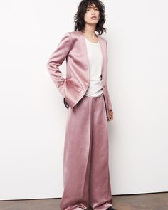 TGIF with this voguish dusty rose satin suit from Elizabeth and James (…