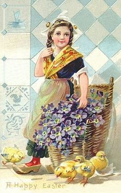 Nederlands vintage post-Paaskaart,......................lb