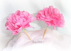 12 Tissue Paper Flower Cupcake Toppers Food Picks by StudioIdea, $10.99