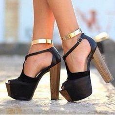 Gold anklets high heel shoes