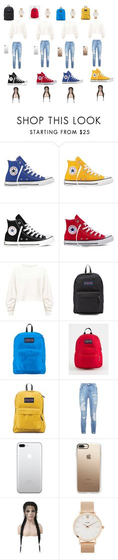 """""""Me and my Best Friends wore this today for quad squad"""" by laurenp18 ❤ liked on Polyvore featuring Converse, Miss Selfridge, JanSport, Casetify, WithChic and CLUSE"""