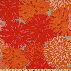 Fabric Valori Wells Wrenly Bloom Mandarin Orange