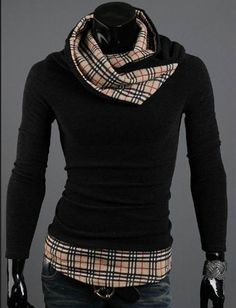 Casual Plaid Turtleneck Pullover Sweater for Men Fashion