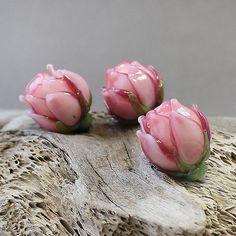Handmade Lampwork Beads  Pink Rose Glass by JewelryBeadsByKatie
