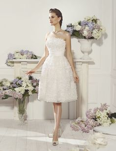 Pretty tea-length wedding dress