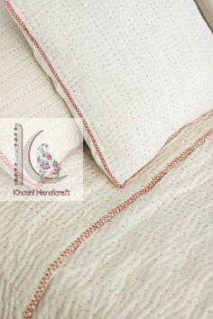 Solid White Kantha Throw, Cotton Kantha Quilt, Handmade Quilt, Natural White Kantha Blanket Throw, Q