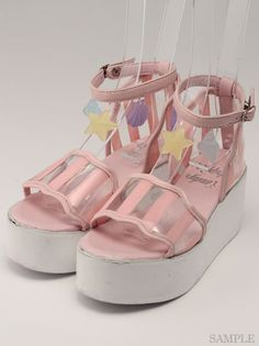 candy stripper kawaii seashell beach platform shoes! #dollskill
