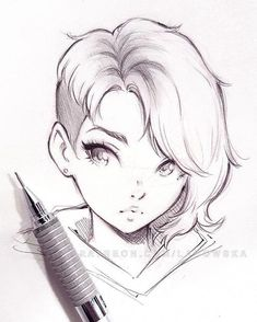 Read about drawing people - Zeichentechniken - Art Sketches Anime Drawings Sketches, Cool Art Drawings, Pencil Art Drawings, Anime Sketch, Anime Face Drawing, Girl Face Drawing, Drawing Girls, Drawing Of A Person, Cute Girl Drawing