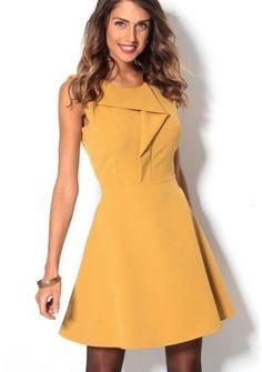 Rozšírené šaty so záhybmi #Modinosk #dress #šaty #yellow