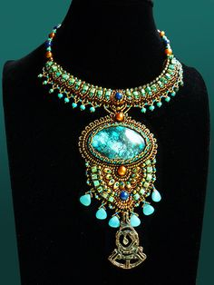 Relax - Necklace Bead Embroidery Art with Turquoise